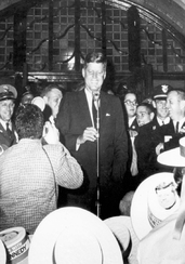 President Kennedy addresses students at University of Michigan.